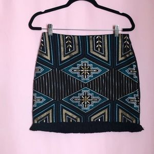 H&M Black and Gold Embroidered Beaded Fringe Skirt